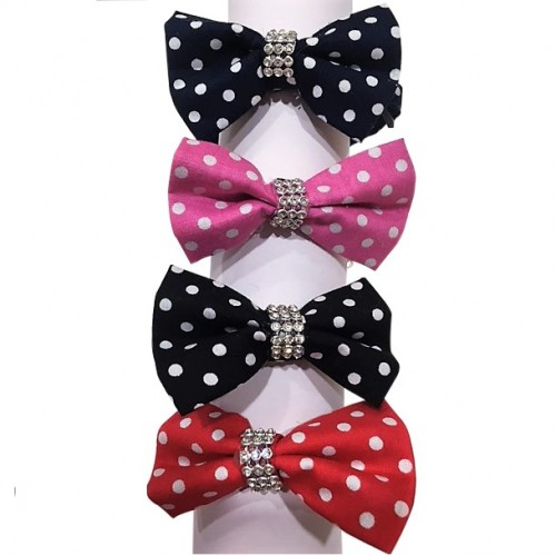 Fabric Dot bow collar